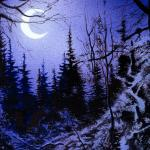 Detail Image of the moon and trees - art by Geoff Taylor