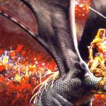 Detail Image of dragon and rider in Time of Justice - art by Geoff Taylor